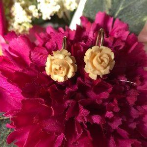 Signed vintage rose earrings